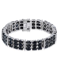 Macy's Black Sapphire 50 Ct. T.W. And Diamond Accent Link Bracelet In Sterling Silver