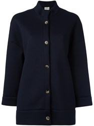 Douuod Three Quarters Sleeve Boxy Jacket Blue