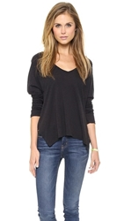 Sundry Boxy Long Sleeve V Neck Tee Black