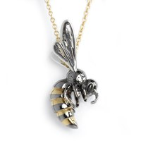 Hjalte Jewellery Gold Honey Bee Necklace Black Gold Silver