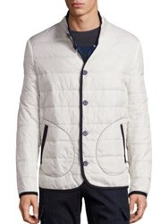 Saks Fifth Avenue Quilted Long Sleeve Jacket White Navy