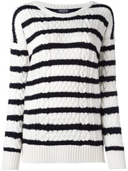 Woolrich Round Neck Striped Jumper Nude Neutrals