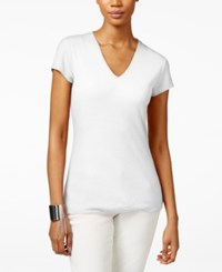 Inc International Concepts Petite Ribbed V Neck T Shirt Only At Macy's Bright White