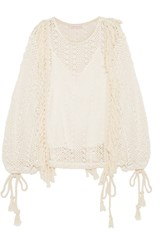 See By Chloe Tasseled Macrame Top Off White