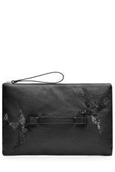 Red Valentino Leather And Sequin Clutch Black