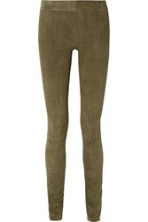 The Row Tomo Paneled Stretch Suede Skinny Pants Mushroom