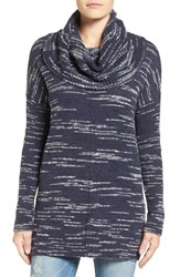 Caslonr Women's Caslon Side Slit Cowl Neck Tunic Navy Ivory Pattern
