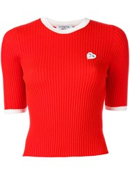 Vivetta Heart Patch Knitted Top Red