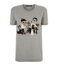 Dolce And Gabbana Family Applique T Shirt Female Grey