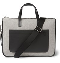 Loewe Toledo Canvas And Leather Briefcase Off White