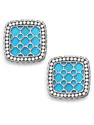 John Hardy Dot Batu Turquoise 18K White Gold And Sterling Silver Square Stud Earrings
