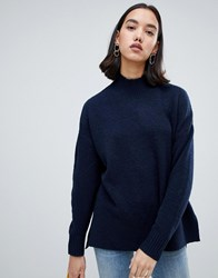 Selected Roll Neck Jumper Navy
