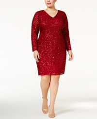 Adrianna Papell Plus Size Long Sleeve Beaded Dress Wine