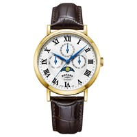 Rotary Gs05328 01 Men's Windsor Day Date Month Moonphase Leather Strap Watch Dark Brown White