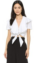 Temperley London Payton Tie Front Ruffle Shirt White