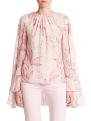 Giambattista Valli Long Sleeve Silk Cape Blouse Pale Pink