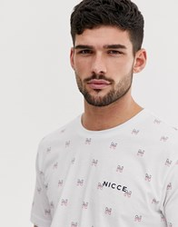 Nicce London T Shirt With All Over Logo In White