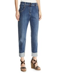 Brunello Cucinelli Mid Rise Relaxed Straight Leg Jeans Dark Blue