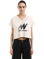 Aalto After Nature Print Cotton Crop Top Ivory