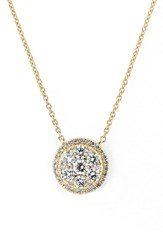 Bony Levy Women's 'Mika' Round Halo Diamond Pendant Necklace Yellow Gold