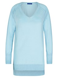 Winser London Cotton V Neck Jumper Light Blue