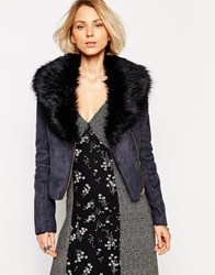 Barney's Originals Short Coat With Deep Faux Fur Collar Navy