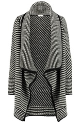 Joie Mathisa Leather Trimmed Wool And Cashmere Blend Cardigan Black