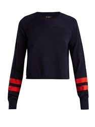 Lndr Ace Contrast Stripe Wool Blend Cropped Sweater Navy