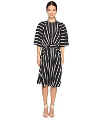 Preen Gracie Printed Sandwashed Silk Dress Black Breton