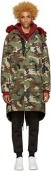 Off White Green Camouflage Parka