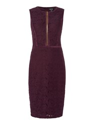 Episode Lace Bodycon Dress With Suede Panels And Zip Front Aubergine