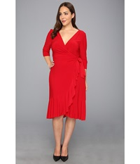 Kiyonna Whimsy Wrap Dress Red Y For Love Women's Dress