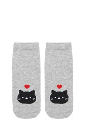 Forever 21 Heathered Cat Print Ankle Socks Heather Grey Multi