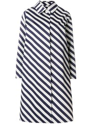 Mackintosh Striped Raincoat Blue