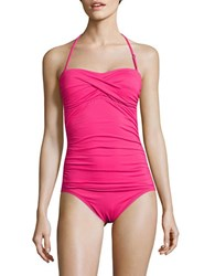 Anne Cole Live In Colortwist Shirred Halterneck One Piece Swimsuit Pink
