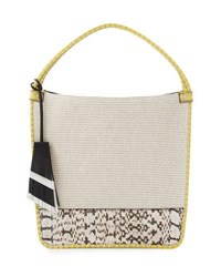 Proenza Schouler Medium Canvas And Snakeskin Tote Bag Ecru