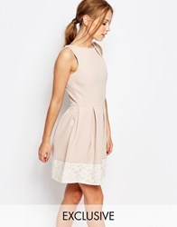 Closet Lace Detail Skater Dress Nude And Lace Pink