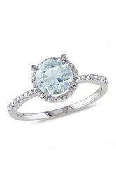 Sterling Silver Round Aquamarine And Sterling Silver Diamond Halo Ring Beige