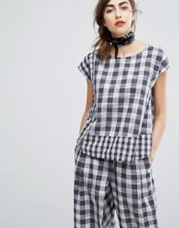 People Tree Hand Woven Boxy Top In Picnic Check Co Ord Multi