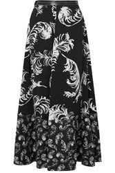 Loewe Leather Trimmed Printed Satin And Linen Maxi Skirt Black