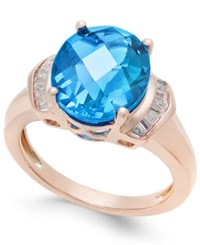 Macy's London Blue Topaz 4 9 10 Ct. T.W. And White Topaz 1 4 Ct. T.W. Ring In 14K Rose Gold Plated Sterling Silver