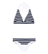 Dolce And Gabbana Striped Halter Bikini Blue