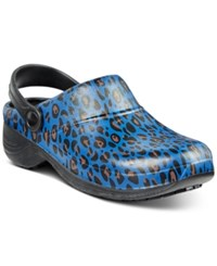 Easy Street Shoes Works By Time Clogs Women's Navy Cheetah
