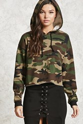 Forever 21 Boxy Camo Print Hoodie Taupe Brown
