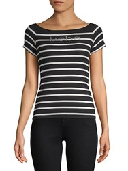 Bebe Chrissy Stripe Short Sleeve Top Black