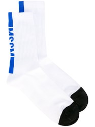 Msgm Logo Socks Men Cotton Polyamide Spandex Elastane One Size White