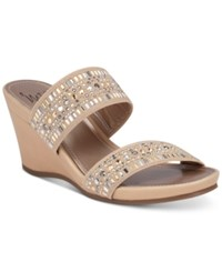 Impo Verill Embellished Wedge Sandals Women's Shoes Nude