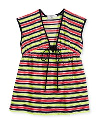 Milly Minis Marina Striped Crochet Coverup Multicolor Size 8 14 Girl's Size 8 Multi Colors