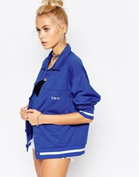 Unif Overszied Mel Jersey Jacket With Front Logo Blue