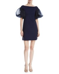 Chiara Boni La Petite Robe Audelle Organza Puff Sleeve Mini Dress Navy